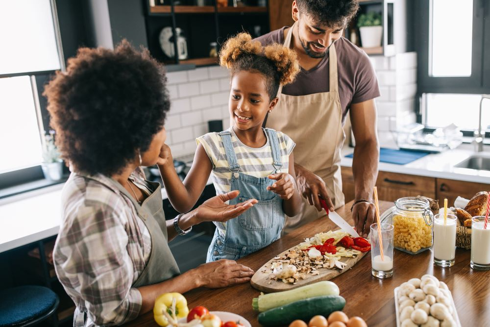 Family cooking healthy food